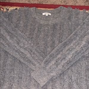 MADEWELL GREY WOOL FRAYED SWEATER